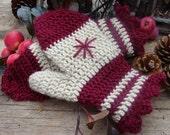 Crochet PATTERN - Snowflake Mittens Crochet PATTERN in PDF Format