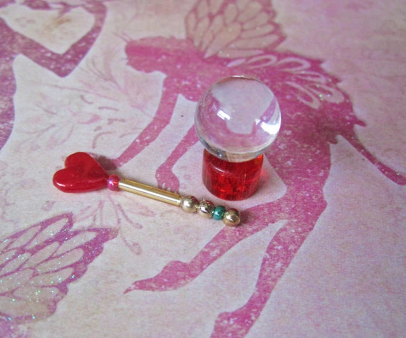 Fantasy Miniature Red Pearlized Heart Magic Wand with Teal Silver and Gold and Matching Clear Crystal Ball on Clear Red Glass Base Set