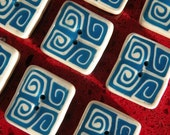 Set of 4 Square Buttons... Blue and White a Classic, Add a Swirl