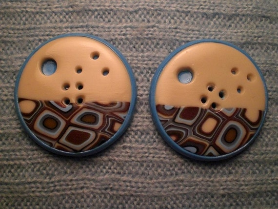 Set of 2 One-of-a-kind Handmade Buttons...