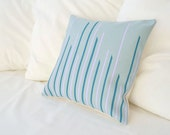 Teal blue cotton with dark emerald and orchid purple stripes pillow cover Skyline Series