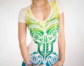 Women white t shirt green and aqua tribal Aztec tatto hand stenciled