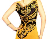 Yellow mustard tank top, Tribal motif graphic hand stenciled