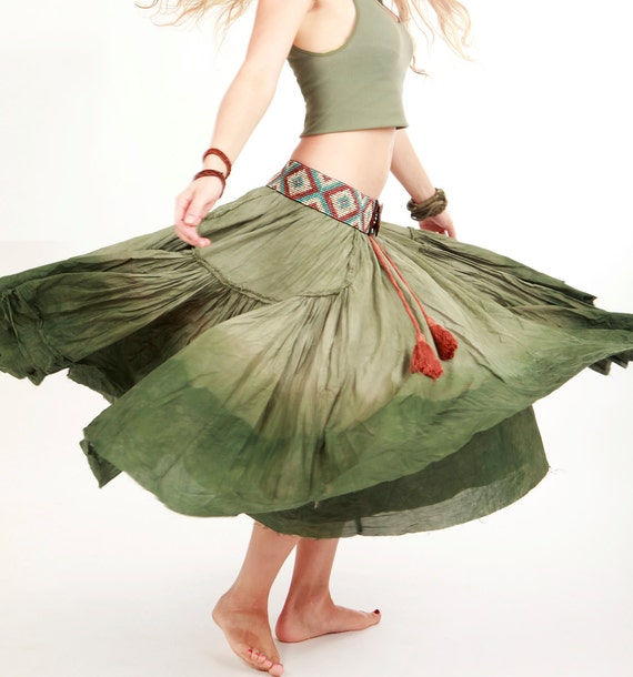 Long fluffy green  skirt, dip dyed OOAK, Medium on waist Small on hips