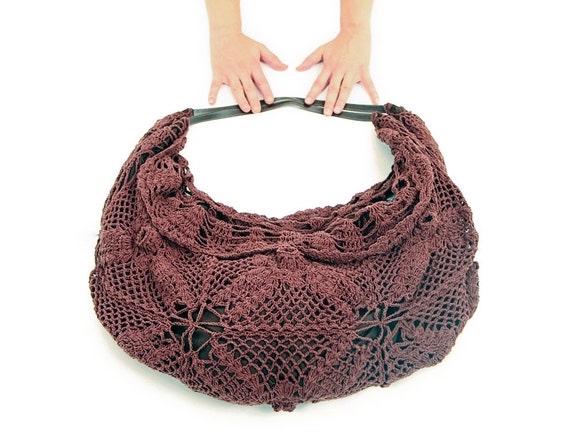 Crochet Bucket Bag Pattern : Earthy Brown Crochet shoulder bag, cool pattern feels nice & soft