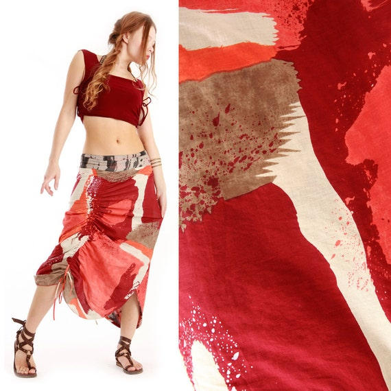 Bold Brush strokes Red Wrap skirt, 2 sided, Gorgeous patterns , 2 ways to wear