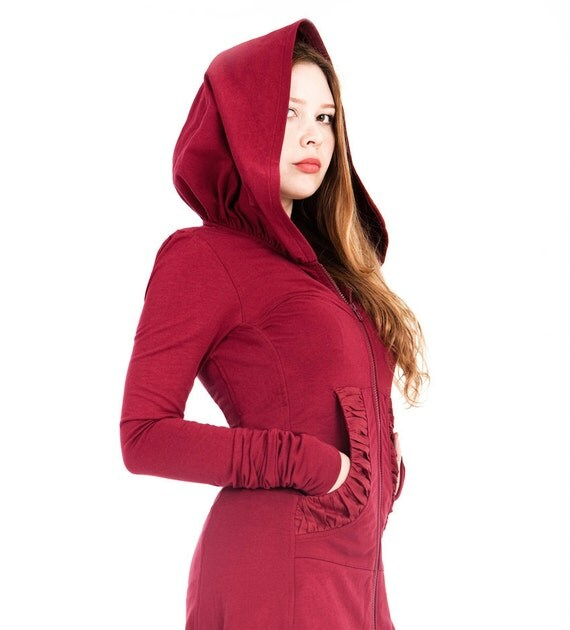 Maroon French Terry hoodie, long, classy gorgeous silhouette with a generous hood,S,M sizes