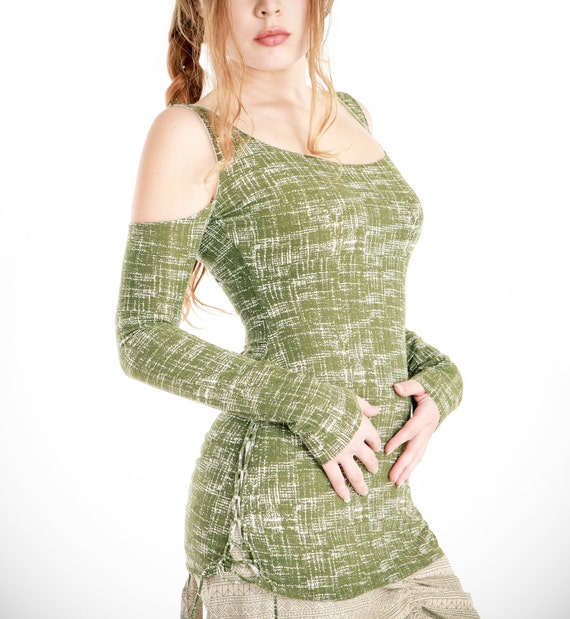 SALE Green long sleeve shirt off shoulder design, cool and very comfortable S-M