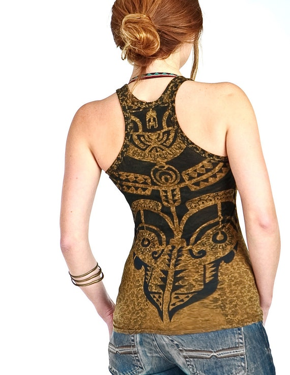 Olive green top, Tribal  tattoo graphic hand stenciled on pattern OOAK