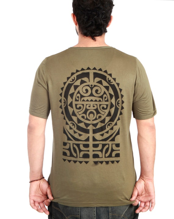 Mens olive green tshirt, hand stenciled Tribal Aztec Tattoo graphic, festival wear