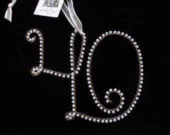 Pearl 40 Anniversary or Birthday Ornament (All Letters Available)