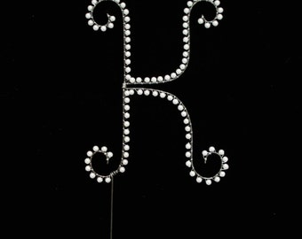 K Pearl Monogram Cake Topper (All Letters Available)