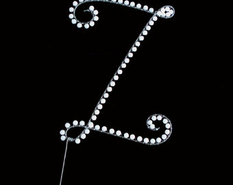 Z Pearl Monogram Cake Topper (All Letters Available)