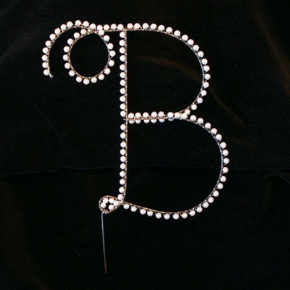 letter cake toppers pearl b cake topper all letters available 5506