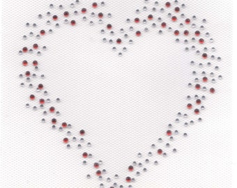 Rhinestone Iron On Transfer Hot fix Red\/Clear Heart