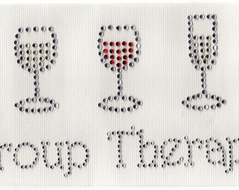 Rhinestone Iron On Transfer Group Therapy / wine glass
