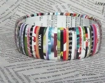 magazine print wrapped bangle bracelet, YAH recycling.  VICE