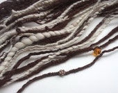 Bulky Art Yarn - FROM THE ATTIC - Handspun, Choccolate Brown, Natural White. Amber Beads, White Lace Fabric, Copper Flowers. Thick and Thin