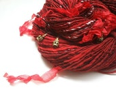 Art Yarn - QUEEN OF HEARTS - Handspun, Alice in Wonderland. Red, Black, White. Glass Beads, Silk Ribbons, Crown Charms. 157 yards, 3.77 oz