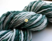 Winter Art Yarn - WINTER DELIGHT - Handspun, Handdyed. Sequins and Beads. Turquoise, Teal, Natural White, Mother of Pearl. 86 yards, 2 oz