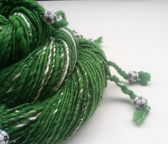 Handspun Art Yarn - SOCCER FIELD - Green and White, with Dangling Soccer / Football Beads. Perfect Gift or Gift Supply. 136 yards, 2.96 oz