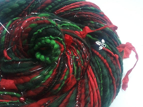 Glittering Art Yarn - MERRY CHRISTMAS - Festive Handspun. Red, Green. Holly Charms, Pearls and Silk Ribbons. 89 yards, 3.56 oz