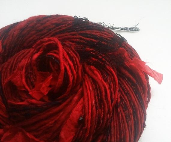 Art Yarn FLAMING PASSION - Handspun. Stunning Red, Black. Bohemian Glass Beads, Silk Ribbons, Lace Fabric. 160 yards, 3 oz