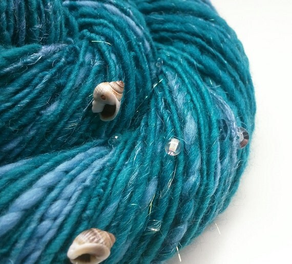 RESERVED for dlyng - SPARKLY MERMAID - Handspun. Teal, Blue, Sparkle. Sea Shells, Sequins, Glass Beads. 148 yards, 2.8 oz