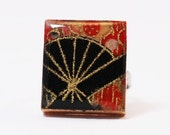 Recycled Scrabble Game Tile Adjustable Ring - Oriental Fan