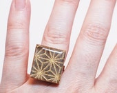 Battle Stars Recycled Scrabble Game Tile Ring by Squishy Sushi
