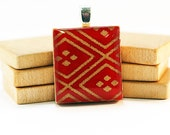 Recycled Scrabble Pendant - Chinese New Year in Scarlet Red