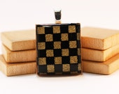 Recycled Scrabble Board Game Pendant - Check Mate in Black