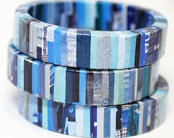Recycled Magazine Bangle Bracelet Denim
