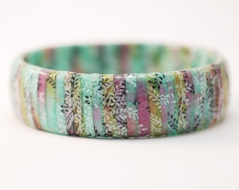Japanese Chiyogami Paper Wrapped Bangle - Forest Nymph