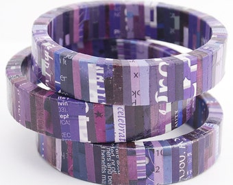 Recycled Magazine Wrapped Eco Friendly Bangle Bracelet in Shades of Puple - Royalty