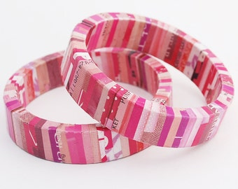 Recycled Magazine Wrapped Eco Friendly Bangle Bracelet in Shades of Pink - Romance
