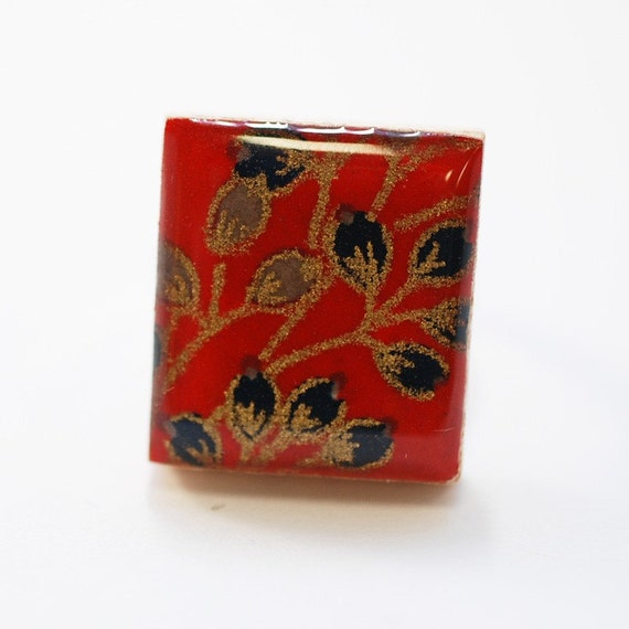 Recycled Scrabble Tile Ring - Budding Dreams in Scarlet