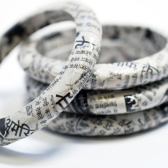 Foreign Press Recycled Newspaper Eco Bangle Bracelet - India