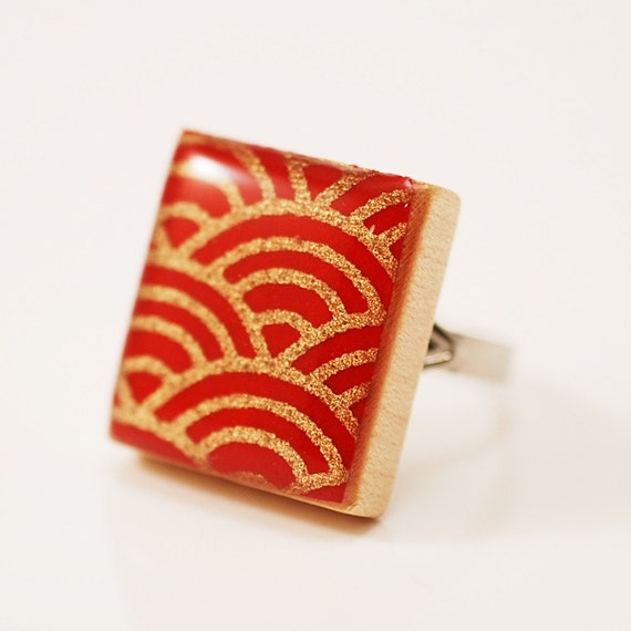 Recycled Scrabble Tile Ring - Sea of Japan in Scarlet Red