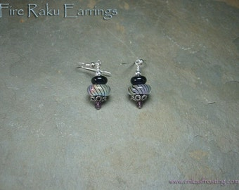 Fire Raku Lampwork Earrings with Sterling Silver and Swarovski Crystals