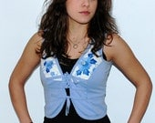 Periwinkle Cotton Knit Vest or Top with Embellishment - Vintage - 1970