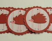 Hedgehog Gift Tags - set of 6 pink ribbon included