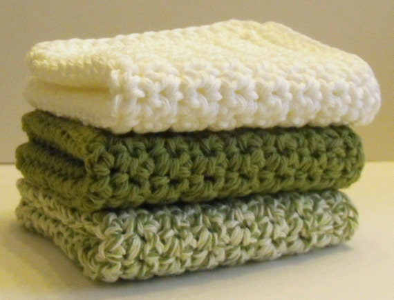 Cotton Crochet Dishcloths or Washcloths  - greens set of 3