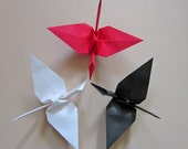18 Large Origami Cranes in Red, White and Black