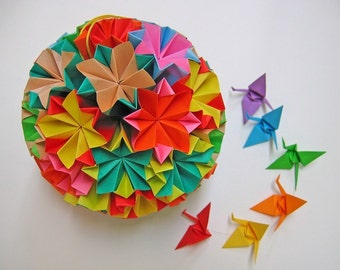 Large Colourful Kusudama Origami Ball