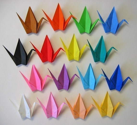 16 Large Origami Cranes in Assorted Colours