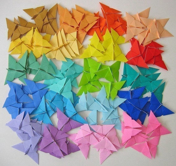 100 Origami Butterflies in Assorted Colours