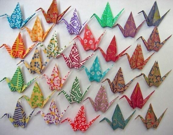 Origami Cranes - 29 Chiyogami Print Paper Cranes