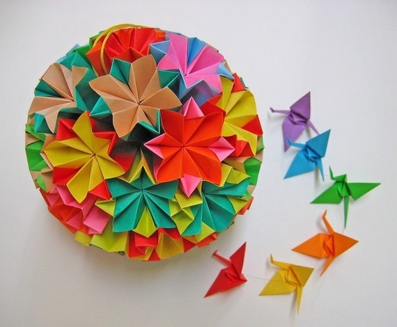 Large Colourful Kusudama Origami Ball - Proceeds to Japan Relief Efforts