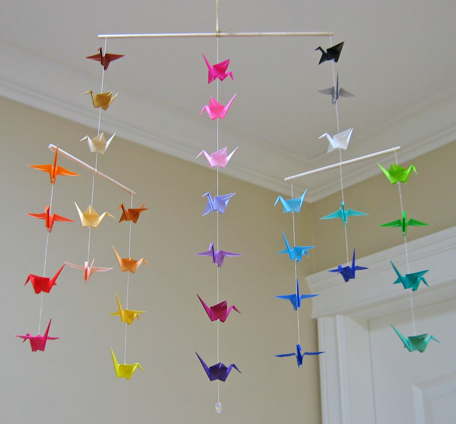 Origami Crane Mobile Colour Wheel Contemporary Mobile - photo#10